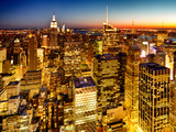 Skyscrapers View, Cityscape by Night, Manhattan, New York City, United States, Color Sunset Stampa fotografica di Philippe Hugonnard