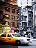 Urban Scene, Yellow Taxi, 34th St, Downtown Manhattan, New York, United States, Dual Colors Photographic Print by Philippe Hugonnard