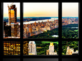 Window View, Skyscrapers, Central Park and Upper West Side Views at Nightfall, Manhattan, New York Photographic Print by Philippe Hugonnard
