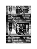 Fire Escape, Stairway on Manhattan Building, NYC, White Frame, Full Size Photography Photographic Print by Philippe Hugonnard