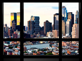 Window View, Special Series, Sunset Skyline at Theater District, Midtown Manhattan, New York Photographic Print by Philippe Hugonnard