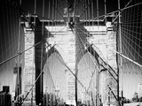 Brooklyn Bridge, Manhattan, New York, United States, Black and White Photography Photographic Print by Philippe Hugonnard