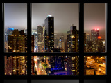 Window View, Urban Landscape by Night, Misty Colors View, Times Square, Manhattan, New York Photographic Print by Philippe Hugonnard