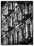 Lifestyle Instant, Fire Staircase, Black and White Photography Vintage, Manhattan, NYC, US Photographic Print by Philippe Hugonnard