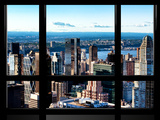 Window View, Hell's Kitchen District and Hudson River Views, Midtown Manhattan, New York Photographic Print by Philippe Hugonnard