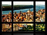 Window View, George Washington Bridge View at Sunset from Central Park, Manhattan, New York Photographic Print by Philippe Hugonnard