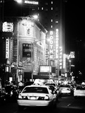 Urban Scene with Yellow Cab by Night at Times Square, Manhattan, NYC, Classic Old Photographic Print by Philippe Hugonnard