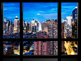 Window View, Theater District and Times Square at Nightfall, 42 Street, Midtown Manhattan, NYC Photographic Print by Philippe Hugonnard