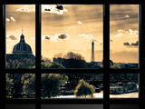 Window View, Special Series, the Eiffel Tower and Seine River View at Sunset, Paris, Europe Photographic Print by Philippe Hugonnard