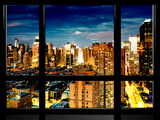 Window View, Theater District and Times Square Views at Night, 42 Street, Manhattan, NYC Photographic Print by Philippe Hugonnard