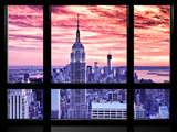 Window View, Special Series, Empire State Building View, Sunset, Manhattan, New York City, US Photographic Print by Philippe Hugonnard