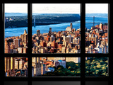 Window View, George Washington Bridge View at Sunset from Central Park, Manhattan, NYC Photographic Print by Philippe Hugonnard