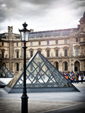 View of the Pyramid and the Louvre Museum Building, Paris, France Photographic Print by Philippe Hugonnard