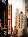 Urban Scene with Chrysler Building, Times Square, Manhattan, New York, United States, Vintage Photographic Print by Philippe Hugonnard