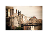 Ed Koch Queensboro Bridge, Roosevelt Island Tram Station, Manhattan, New York, Vintage, White Frame Photographic Print by Philippe Hugonnard