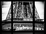 Window View, Special Series, Detail of Eiffel Tower View, Paris, Black and White Photography Photographic Print by Philippe Hugonnard