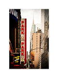 Urban Scene with Chrysler Building, Times Square, Manhattan, New York, White Frame, Vintage Photographic Print by Philippe Hugonnard