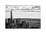 One World Trade Center and Statue of Liberty Views, Manhattan, New York, White Frame Photographic Print by Philippe Hugonnard