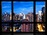 Window View, Theater District and Times Square Views at Nightfall, 42 Street, Manhattan, NYC Photographic Print by Philippe Hugonnard