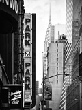 Urban Scene with Chrysler Building, Times Square, Manhattan, New York, Black and White Photography Photographic Print by Philippe Hugonnard