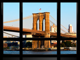 Window View, Special Series, Brooklyn Bridge, Sunset, Manhattan, New York City, United States Photographic Print by Philippe Hugonnard