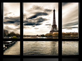 Window View, Special Series, the Eiffel Tower and Seine River Views, Paris, France, Europe Photographic Print by Philippe Hugonnard