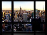 Window View, Skyline at Sunset, Midtown Manhattan, Hudson River, New York Fotografiskt tryck av Philippe Hugonnard