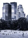 A Summer in Central Park, Lifestyle, Manhattan, NYC, Blue Light Black and White Photography Photographic Print by Philippe Hugonnard