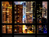 Window View, Architecture and Buildings by Night, 42 Street, Times Square, Midtown Manhattan, NYC Photographic Print by Philippe Hugonnard