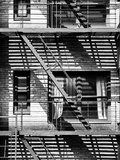 Fire Escape, Stairway on Manhattan Building, New York City, US, Black and White Photography Photographic Print by Philippe Hugonnard