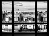Window View, Special Series, Black and White Photography, Rooftops, Sacre-Cœur Basilica, Paris Photographic Print by Philippe Hugonnard