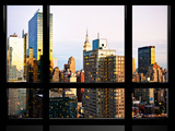 Window View, Special Series, Sunset, New Yorker Hotel, Empire State Building, Manhattan, New York Photographic Print by Philippe Hugonnard