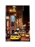 Urban Scene with Yellow Cab by Night at Times Square, Manhattan, NYC, White Frame Photographic Print by Philippe Hugonnard