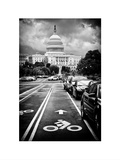 Bicycle Path Leading to the Capitol, US Congress, Washington D.C, District of Columbia, White Frame Photographic Print by Philippe Hugonnard