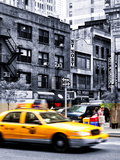 Urban Scene, Yellow Taxi, 34th St, Downtown Manhattan, New York, United States, Art Colors Photographic Print by Philippe Hugonnard