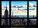 Window View, Empire State Building and the One World Trade Center (1WTC), Manhattan, New York Fotografisk tryk af Philippe Hugonnard