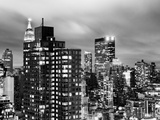 Landscape by Night, Atmosphere Foggy, Series 02, Hotel New Yorker, Times Square, Manhattan, NYC Photographic Print by Philippe Hugonnard