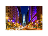 City Hall and Avenue of the Arts by Night, Philadelphia, Pennsylvania, US, White Frame Photographic Print by Philippe Hugonnard