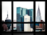Window View, Special Series, Empire State Building and Chrysler Building Tops, Manhattan, New York Photographic Print by Philippe Hugonnard