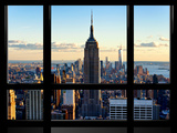 Window View, View Towards Downtown at Sunset, Manhattan, Hudson River, New York Fotografisk tryk af Philippe Hugonnard