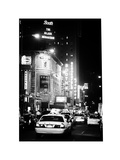 Urban Scene with Yellow Cab by Night at Times Square, Manhattan, NYC, White Frame, Classic Old Photographic Print by Philippe Hugonnard