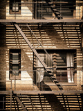 Fire Escape, Stairway on Manhattan Building, New York City, United States, Vintage Photographic Print by Philippe Hugonnard