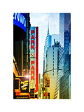 Urban Scene with Chrysler Building, Times Square, Manhattan, New York, White Frame Photographic Print by Philippe Hugonnard
