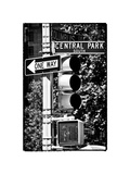 Urban Signs, Central Park, Manhattan, New York, White Frame Vintage, Full Size Photography Fotografisk tryk af Philippe Hugonnard