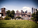 Skyline of Manhattan, Vintage, Brooklyn Bridge Park, New York City, United States Photographic Print by Philippe Hugonnard