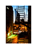 Stairway by Night, Fire Escapes, White Frame, Full Size Photography, Street Manhattan, New York, US Photographic Print by Philippe Hugonnard