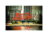 Pepsi Cola Bottling Sign, Long Island City, New York, Vintage, White Frame, Full Size Photography Photographic Print by Philippe Hugonnard