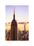 Sunset View, Empire State Building and One World Trade Center (1WTC), Manhattan, NYC, Colors Fotografisk tryk af Philippe Hugonnard