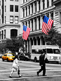 Crosswalk with Yellow Taxis and American Flags, Manhattan, New York, Black and White Photography Photographic Print by Philippe Hugonnard