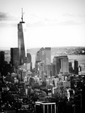 Landscape Sunset View, One World Trade Center, Manhattan, New York Vintage Photographic Print by Philippe Hugonnard